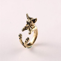 Vintage Chihuahua dog Ring Cute Animal Anel Retro Alloy Bulldog adjustable ings Anillos Mujer 's Bijoux DWJZ343