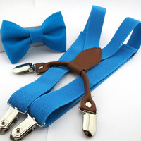 Turquoise Clip On Bow Tie and Suspenders 1-6 Years Boys Toddler 2T 3T 4T 5T
