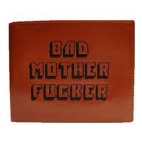 Bad Mother F_cker Leather Wallet Embroidered Pulp Fiction Jules Winnfield Mofo Quentin Tarantino Samuel L. Jackson F&cker New