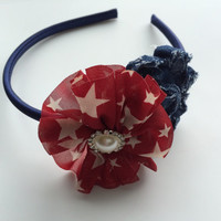 Patriotic Headband for 4th of July - Denim Flower Satin Headband - Deep  Red Flower Head Band for Girls - July 4 Headband for Women -