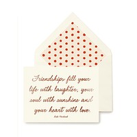 Friendships Fill Your Life Greeting Card, Single Folded Card or Boxed Set of 8