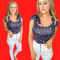American Babe Body Suit-Navy/White-July 4th