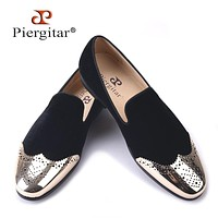 new Black velvet shoes with gold Bullock buckle Fashion party and wedding men loafers  men casual shoes