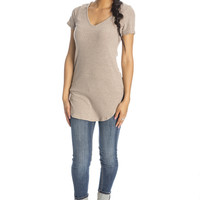 The Long Run Ribbed Tunic - Taupe ed