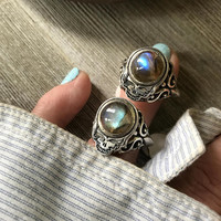 Rainbow Labradorite Steal Your Face Ring * Grateful Dead Silver Ring * Dark Star Space Jam * Sterling Grateful Dead Jewelry * double-sided !