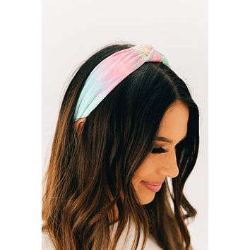 Head Held High Tie Dye Top Knot Headband (Teal/Multi)