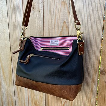The Alsea Crossbody + Outside Pocket in Two Tone Leather