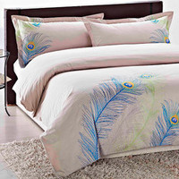 Peacock Embroidered 3-piece Duvet Cover Set | Overstock.com