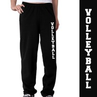 Volleyball Fleece Sweatpants Adult Small on Black