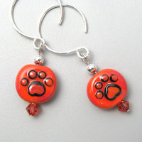 Tangerine Dog Cat Paw Print glass bead sterling silver by GemBonz