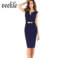 VEEKLE Wear To Work Office Dress Sleeveless Draped Belted Ruched Charming Formal Business Robe Femme Elegant Plus Size S-4XL