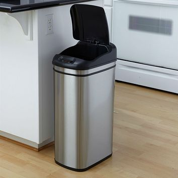 11.1 Gallon Kitchen Infrared Touchless Automatic Motion Sensor Lid Open Trash Can