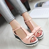 Peep Toe Bowtie T Straps Wedge Sandals 1675