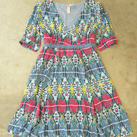 Artisan Ikat Dress in Gray [2689] - $34.00 : Vintage Inspired Clothing & Affordable Fall Frocks, deloom | Modern. Vintage. Crafted.