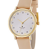 Kate Spade New York - Novelty Metro Goldtone Stainless Steel & Vachetta Leather Scallop Strap Watch - Saks Fifth Avenue Mobile