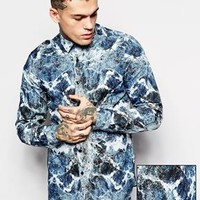 ASOS Smart Shirt In Long Sleeve With Earth Print