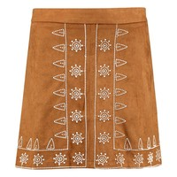 Naia Embroidered Front A Line Suedette Mini Skirt | Boohoo