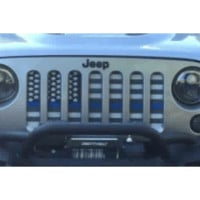 American Flag Blue Line (Black & White) / Jeep Grill (1-2 Week Delivery)