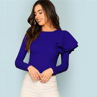 Blue Modern Lady Weekend Casual Round Neck Zip Back Ruffle One Sleeve Long Sleeve Tee Women Tshirt Top