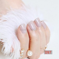 2017 24pcs hot fashion candy color cute nail finished fake nails short paragraph Light beige  N097