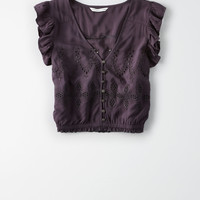 AE Button-Up Crop Top, Washed Black