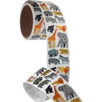 Bulk Roll Prismatic Stickers, Safari Animals (50 Repeats)