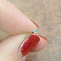 18g or 20g Aqua Crystal Stud Nose Ring