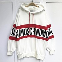 ''MOSCHINO'' Women Hot Hoodie Cute Loose Letter Sweater White