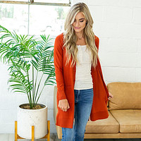 NEW! Long Button Up Cardigan - Rust
