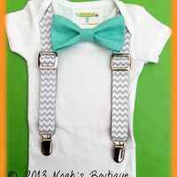 Baby Boy Clothing - Mint Bow Tie Grey Chevron Suspenders - Suspenders & Bow Tie Bodysuit - Baby Tuxedo - Spring Wedding Baby - Trendy Baby