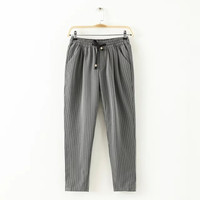 Stylish Korean Stripes Print Women's Fashion Cropped Pants [5013394116]