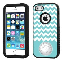 One Tough Shield ® 3-Layer Hybrid Case (Black/Black) for Apple iPhone 5 5s - (Chevron/Teal/Volleyball)