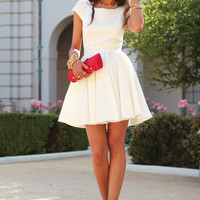 White Pleated Flare Dress