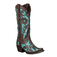 Lane Boots Women's Brown/ Turquoise 'Poison' Cowboy Boots | Overstock.com