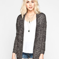 Poof Excellence Marled Drop Shoulder Cardigan Black/Grey  In Sizes