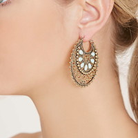Faux Stone Hoop Earrings
