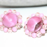Womens Vintage Earrings / West Germany Pink Art Glass / Cluster SB Earrings