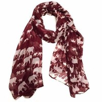 Red Elephant Scarf in with White Print