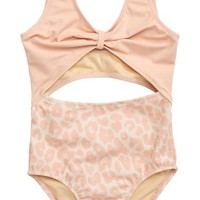 Something Navy Open Front One-Piece Swimsuit (Toddler Girls, Little Girls & Big Girls) (Nordstrom Exclusive) | Nordstrom