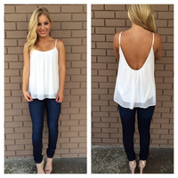 Ivory Low Back Chiffon Tank