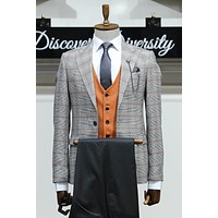Orange Vested Checked Suit Combination