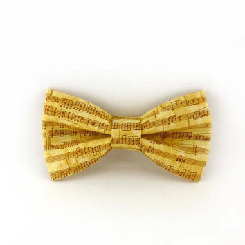 Music bow tie clip on – cream and gold cotton fabric – pre tied clip-on style – mens or womens – adult teen size