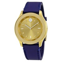 Movado Bold Gold-Tone Dial Blue Silicone Ladies Watch 3600413