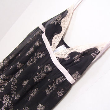 Baby doll Nightie Gown Black Sheer with Blush Design By Cabernet