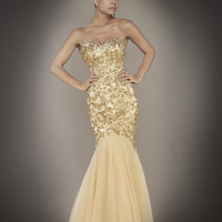 Champagne Sequin & Tulle Strapless Sweetheart Mermaid Couture Gown - Unique Vintage - Cocktail, Pinup, Holiday & Prom Dresses.