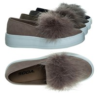 Hestia Mauve Pink By Soda, Faux Fur Pom Round Toe Slip On Fashion Sneaker.