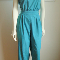 1970's 70's Teal Green Jumpsuit. Cotton. Vintage Jump Suit. Women's Jumpsuit. Retro. Large L