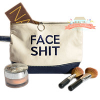 Embroidered Face Shit Makeup Bag - Navy