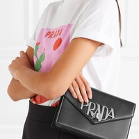 Prada Logo Liberty Leather Shoulder Bag #2696