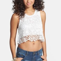 En Creme Lace Crop Tank (Juniors) (Online Only)